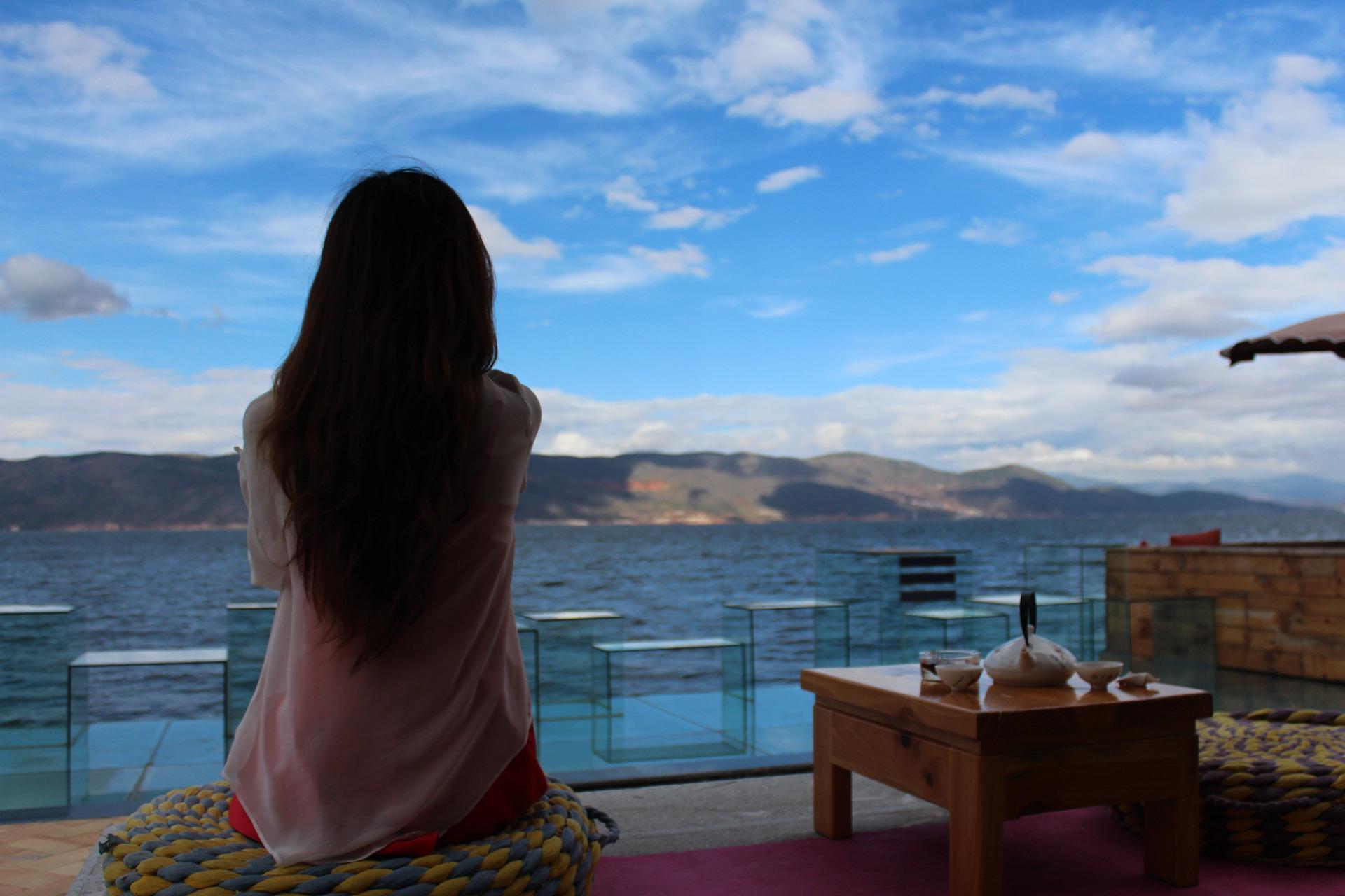 meditating girl, meditation, thinking